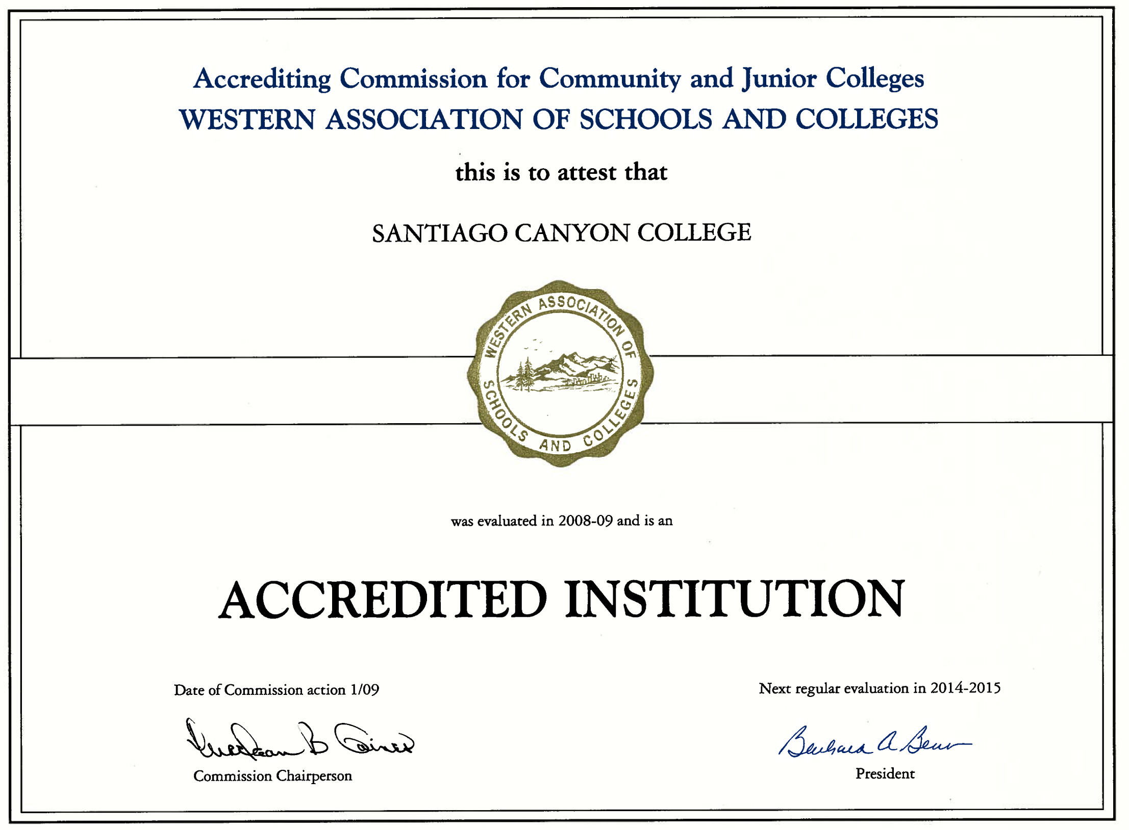 accreditation certificate