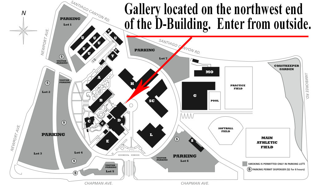 scc campus map showing location of art gallery in D-building