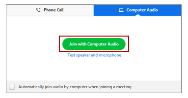 JOIN ZOOM WITH COMPUTER AUDIO
