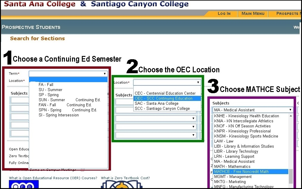 How to register for a MathCE class in Webadvisor screenshot