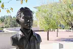 Lorenzo A. Ramirez statue in front of the Santiago Canyon College Library