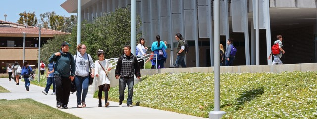 Students walking on courtyard