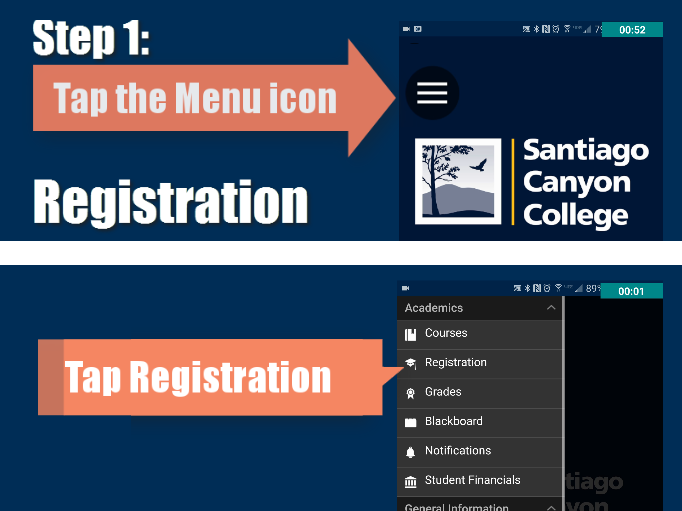 Step 1: Tap Menu icon then Registration
